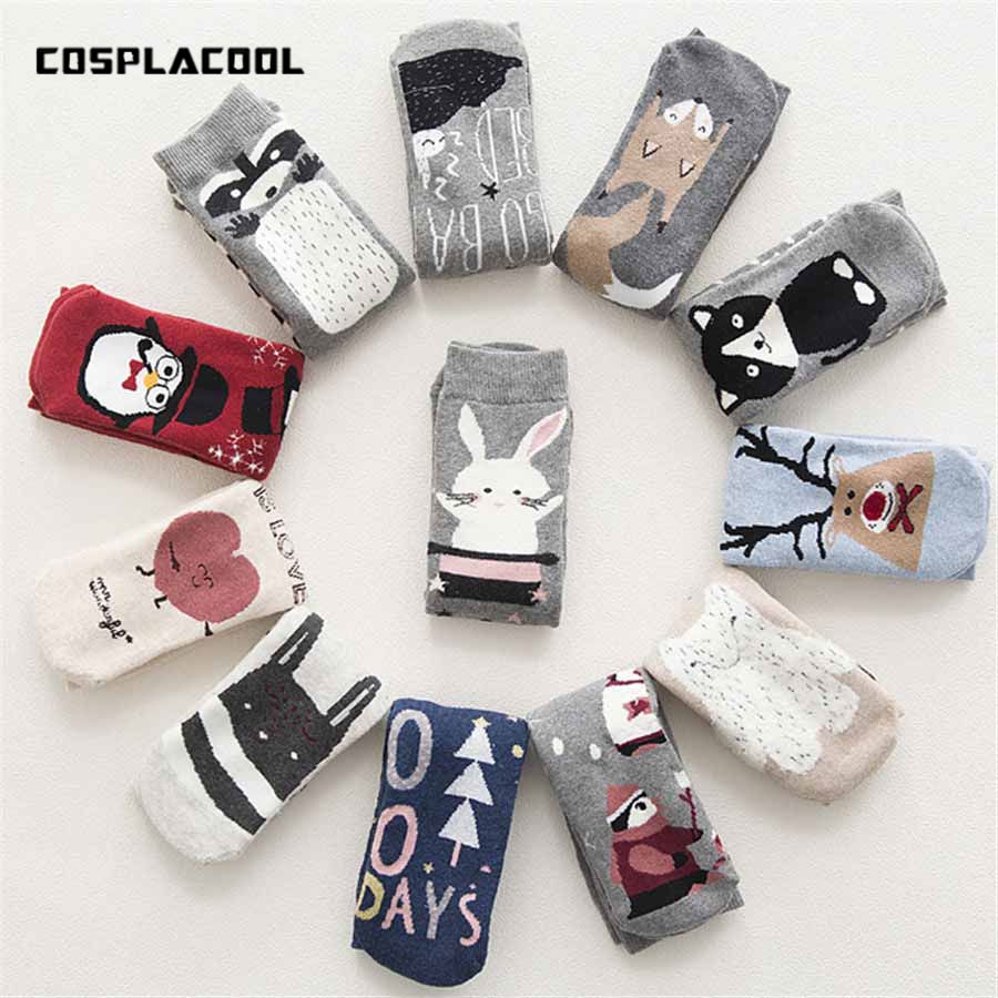 2019 New Autumn Winter Warm Terry-Loop Cute   Socks   Cartoon Animals Patterns Series Funny   Socks   Meias Warmer Christmas Sox Gift