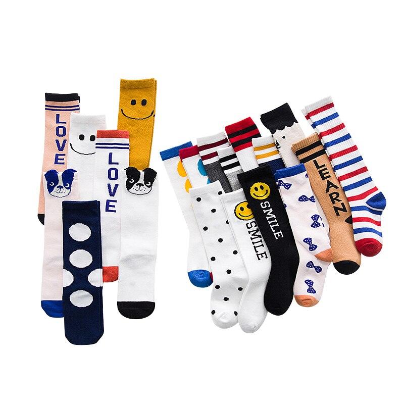 New Cotton Kid's Socks Autumn And Winter Three-dimensional Cartoon Smiley Sport Stripe Knee-high Boys Girl Socks Children Socks
