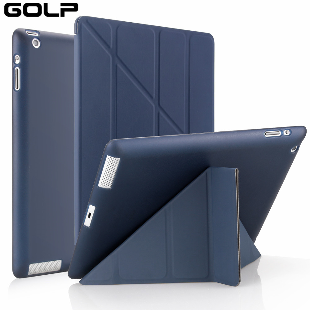 for Apple ipad 2 3 4 Case, GOLP Cover for New ipad 2, flip case for ipad 4, Smart cover for ipad 3, Stand Holder Coque Case(China)