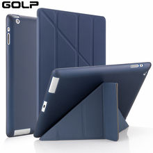 Funda para Apple ipad 2 3 4, funda GOLP para nuevo ipad 2, funda con tapa para ipad 4, funda inteligente para ipad 3, funda con soporte(China)