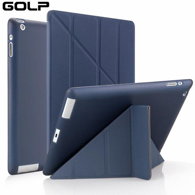 Đối với Apple ipad 2 3 4 Trường Hợp, GOLP Bìa cho New ipad 2, lật trường hợp cho ipad 4, Smart cover cho ipad 3, đứng Chủ Coque Trường Hợp