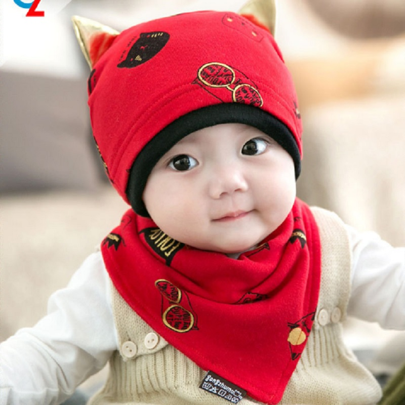 6-24M Baby Hat Newborn Infant Beanies for Child Kids Boys Baby Hats Capts +Bibs Girls Toddler Cotton Cap + Bibs Scarf, 2pcs/set