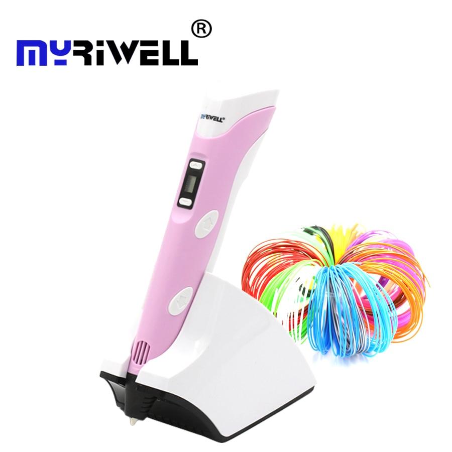 Myriwell wireless charging 3D pen PCL/PLA Low temperature 4 generation 3d printing pen Built-in 1500 mAh battery gift children цены