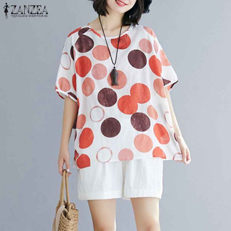 Zanzea Zomer Casual Korte Mouw Tops Vrouwen Polka Dot Blouse Losse Shirt Plus Size Tuniek Top Femme Party Blusas chemise Mujer