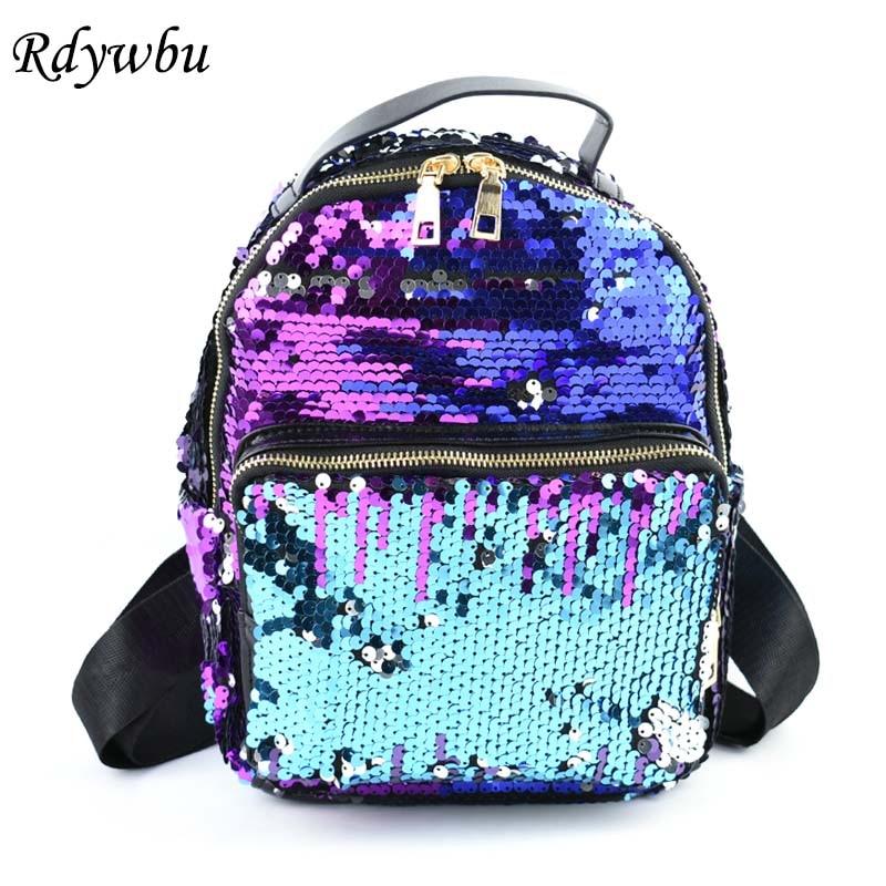Rdywbu Womens Glitter Sequined Backpack Fashion Bling Shinning Small Backpack Preppy Travel School Bag Mochila Feminina B250