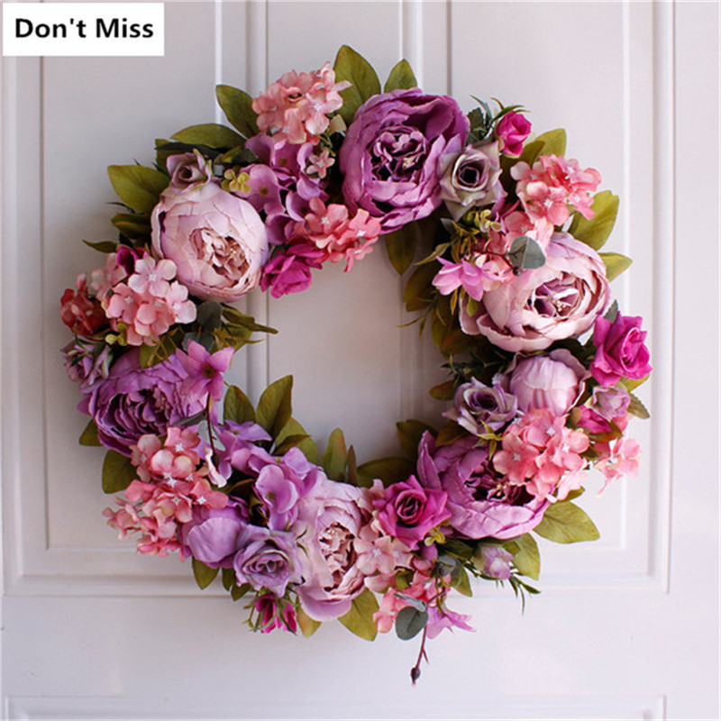 Wreaths Door Hanging Decoration Christmas Simulation Floral Garland for Wedding Home Office Party Dekoratif