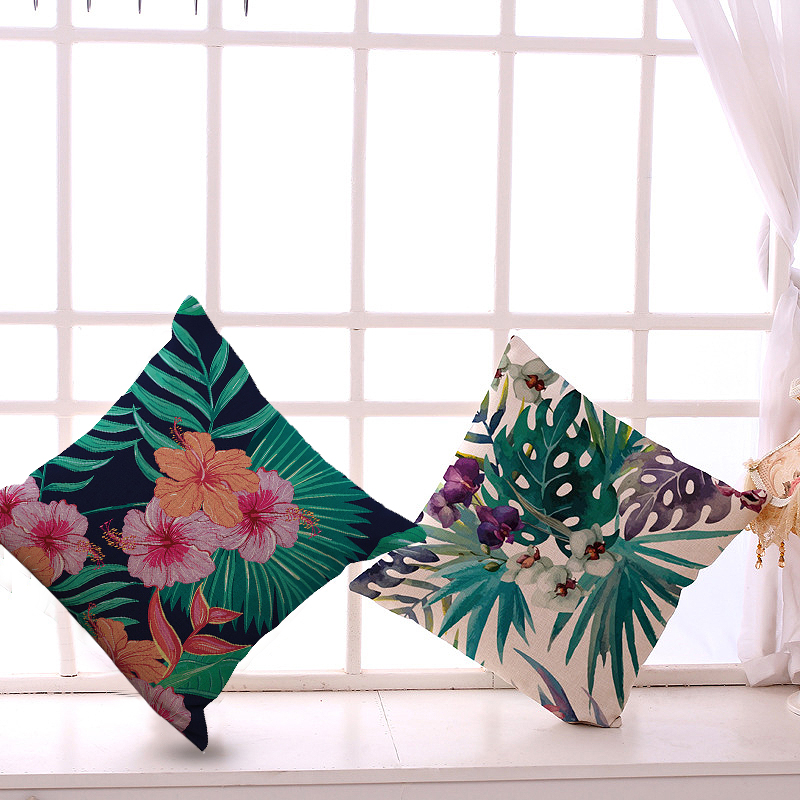 Leaf Butterfly Flower Pattern Pillowcase Colorful Cushion Cover Pillowcase 45 x 45cm