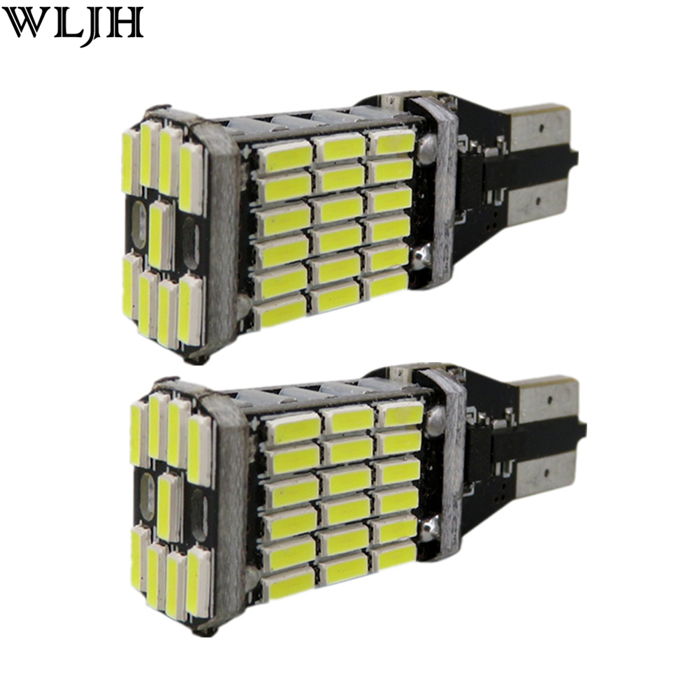 WLJH 2x Canbus 15w 4014 SMD W16W Led T15 921 Auto Backup Light Reverse Lamp Bulb For For Nissan Juke 2011 2012 2013 2014 2015 cyan soil bay car auto t10 25w 30 led smd 4014 lamp parking reverse backup light w16w fog bulb ice blue red amber yellow white