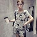 Новый 2016 Корейский стиль Летняя Мода Женская Одежда Набор Г-Жа Серый цвет шорты костюм девушка была тонкая свободные Досуг спортивный костюм носить