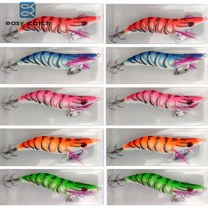 Easy Catch 10 stks Hard Plastic Octopus Squid Jigs Lokt Inktvissen Kunstaas Hout Garnalen Met Squid Hook Maat 2.5 3.0 3.5