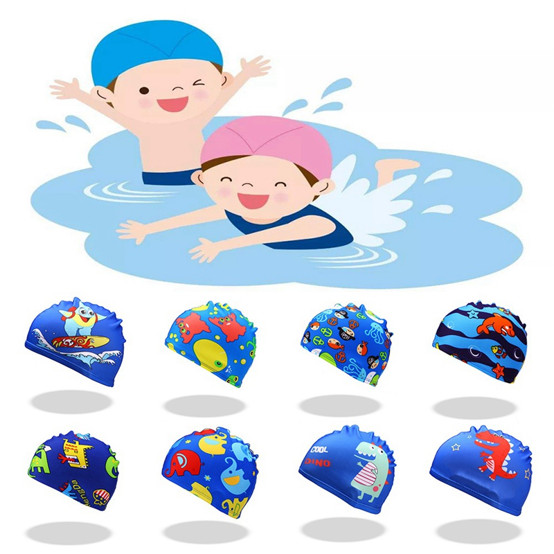 Swimming Caps High Elastic Lovely Women Kids Cartoon Fabric Cute Cartoon Animal Protect Ears Boys Girls Swim Pool Caps Hat