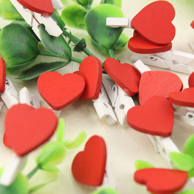 60PCS Mini Love Heart Wooden Clothespin Office Supplies Craft Clips DIY Clothes  Paper Peg Clothespin