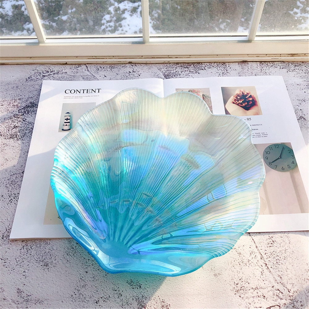 Gorgeous Shell Glass Bowl Shining Transparent Dish Plate Jewelry Fruit Decorative Dishes Tableware Chic Fancy Decoration 1pcs