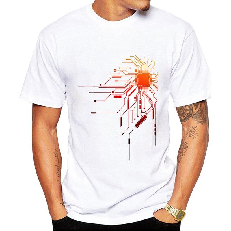 2019 Computer CPU Core Heart T-Shirt Men's GEEK Nerd Freak Hacker PC Gamer Tee Summer Short Sleeve T Shirt Asian Size