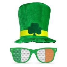 3f2290aa04f9a Saint Patrick Traje Leprechaun Top Dos Vidros do Chapéu cap Acessório  Headband Ireland Trevo Irlandês Chapéus Do Partido Verde s.