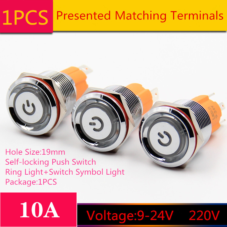 1PCS YT1791 Hole Size 19mm Metal Self-locking Push Switch DC9-24V/AC220V 5 Colors Ring Light+Switch Symbol Light Button 1pcs yt976b 16 mm metal push button switch self locking latch switch with led lights 220v free shipping
