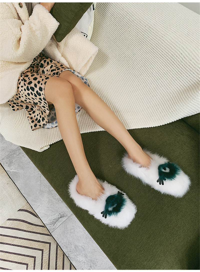 white Fourrure Automne Casual Réel Plat Femme Rond Black Mode Mince Blanc Chaussures Bout Zapatos Noir Mujer Hiver De qt1TvB7