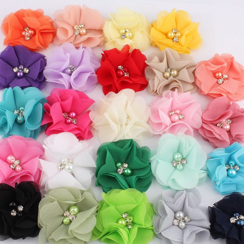 "10pcs/lot 2"" 30colors Hair Clips Chiffon Flower+Rhinestones And Pearls For Girls Hair Accessories Fabric Flowers For Headbands"