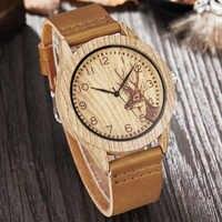 Reloj de imitación de madera para hombres, mujeres, cuarzo, imitar, Reloj de madera, avestruz, venado, hombre, Reloj de pulsera de cuero suave, Reloj de pulsera para hombre