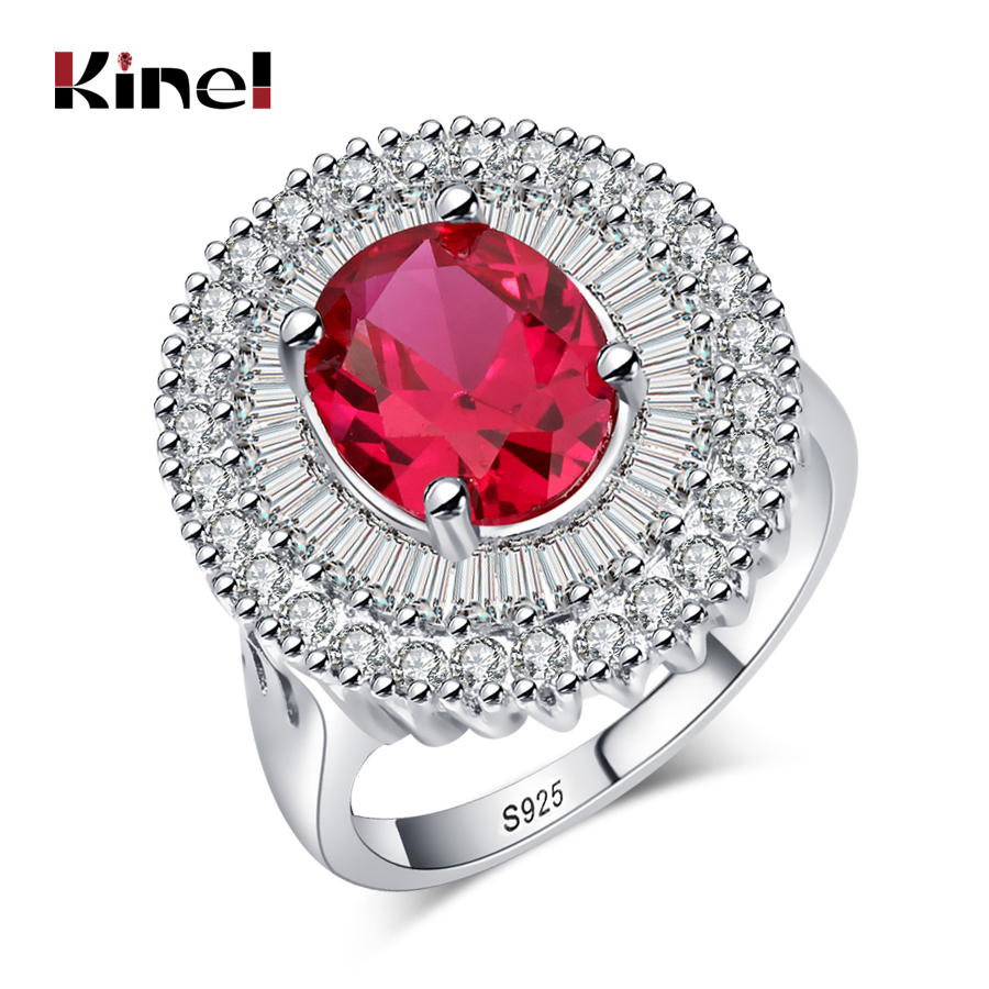 Kinel Luxury Engagement Ring For Women Wedding Band Party Jewelry Silver Color Red Zirco ...