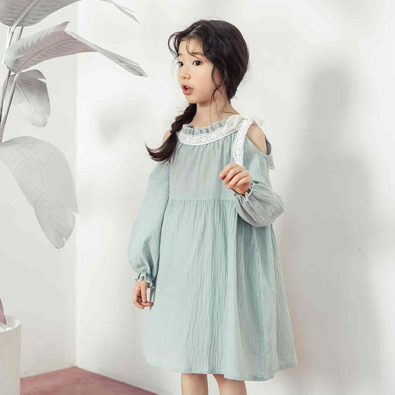 cotton kids dresses for girls 2018 spring autumn ruffles off shoulder long sleeve girl dresses baby girl party dress princess spring autumn girl style dress princess girls dresses high quality cotton kids party costumes solid thicker vestidos zipper bow