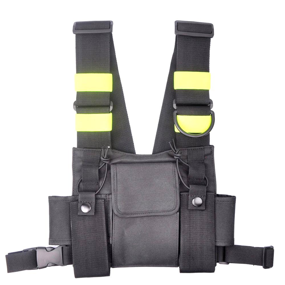 Walkie Talkie Ham Radio Reflective Harness Chest Front Pack Pouch Holster Carry Bag For Baofeng UV-5R UV-82 Backpack