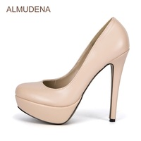 ALMUDENA Sexy Hot Selling Nude High Heel Pumps Concise Stylish Office Daily Dress Shoes Platform Pumps