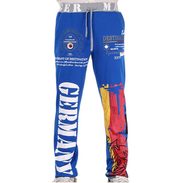 Nueva Moda de Los Hombres Pantalones de Cordón Impreso Carta Cintura Elástica Harem Ocasional Pantalones de Fitness