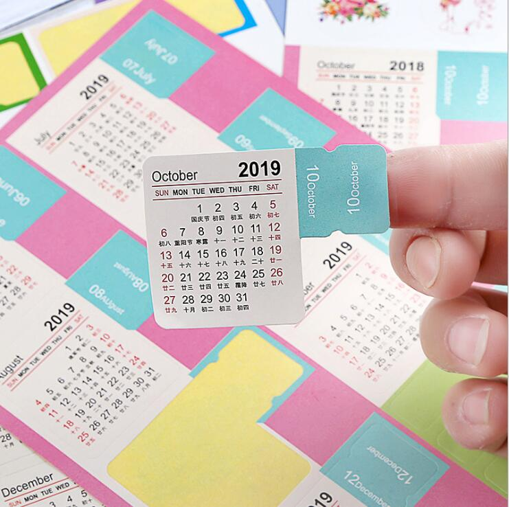 2 pcs/pack New 2019 Year Mini Calendar Stationery Index Decorative Stickers Label Calendar Sticker DIY Work Schedule Calendar цена 2017