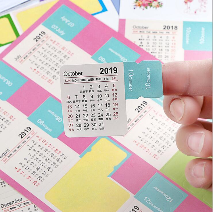 2 pcs/pack New 2019 Year Mini Calendar Stationery Index Decorative Stickers Label Calendar Sticker DIY Work Schedule Calendar va 011 diy decorative abs sticker for car black 2 pcs