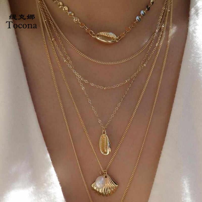 Tocona בוהמיה רב שכבתי תליון שרשרת זהב צבע קיץ פגז צלול אבן שרשרת קולר נשים גבירותיי תכשיטי C19408