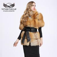 2016 New Genuine Red Fox Fur Coat Winter Thick Fur Jacket Women Long Fox Fur With