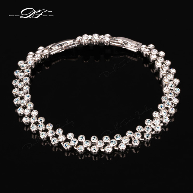 Shiny AAA+ Cubic Zirconia Wedding Bracelets & Bangles Rose Gold/Silver Color Party Jewelry For Women pulseiras DFH063M