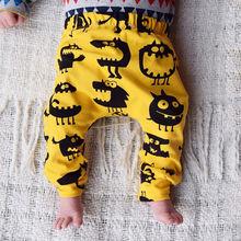 Штаны-шаровары с рисунком монстра для новорожденных мальчиков и девочек, леггинсы, брюки, От 0 до 3 лет хлопковые свободные штаны для малышей
