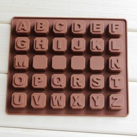 DIY Handmade Chocolate Molds 26 English Letters 4 Spaces Silicone Soap Mold
