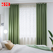 Modern Solid Faux Linen Curtains for Living Room  Plain Drapes Shade Bedroom Window Treatments Single Panel Decorative Green