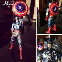 Gorąca sprzedaż ZAGRAJ ARTS PA Amerykański Kapitan Figurka z PCV Avengers Dla kolekcji Statua Lalki Zabawki 27 cm Model zabawki Prezent