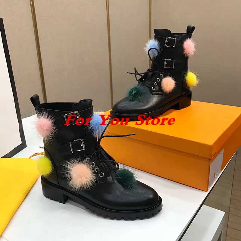 Colorful Fur Ball Decor Women Ankle Boots Belt Buckle Design Winter Leather Women Shoes Low Heel Black Super Star Runway Shoes hot women winter snow ladies low heel ankle belt buckle martin boots shoes kh 39 17mar09