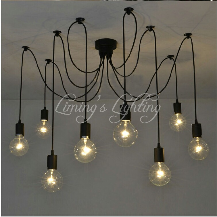 Loft Retro Black Spider Pendant Lights Adjustable Vintage Pendant Lamps Industrial Ceiling Lamps luminaria Edison Light abajur mordern nordic retro edison bulb vintage chandelier loft antique adjustable diy e27 art spider pendant lamps home fixture lights