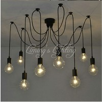 Loft Retro Black Spider Pendant Lights Adjustable Vintage Pendant Lamps Industrial Ceiling Lamps luminaria Edison Light abajur