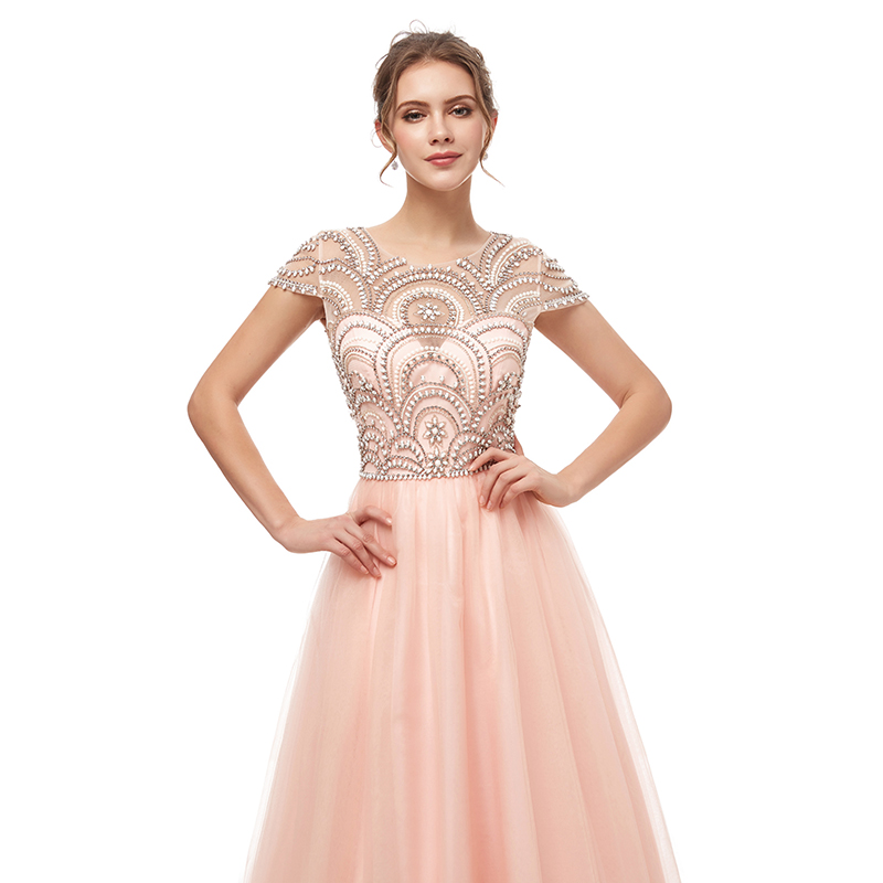 Image 4 - New Formal Wear 3 Layers Evening Long Dresses Elegant Women Tulle Cap Sleeve Beading Prom Party Gowns Special Occasion L5222Evening Dresses   -