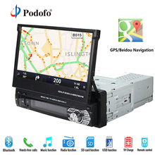 Podofo Car Radio GPS Navigation Car Stereo Bluetooth Autoradio 7 HD Retractable 1 din DVD Player