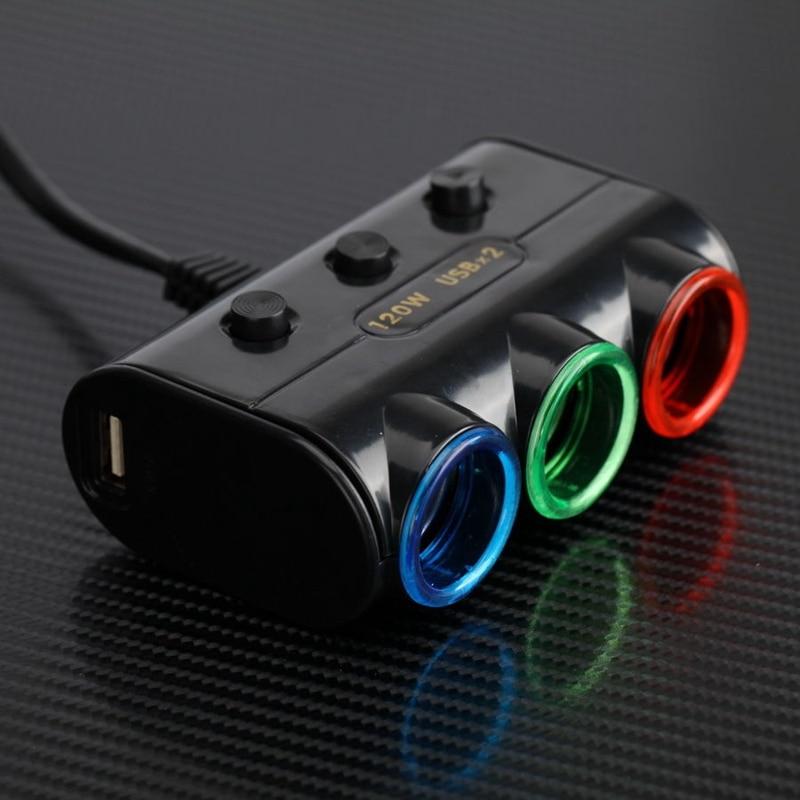 Dual USB Port 3 Way Auto Car Cigarette Lighter Socket Splitter Charger Plug Adapter for iphone / Color Random