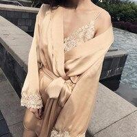 Роскошный 19 momme 100% Silk Satin Robe платье 2 шт. комплект с длинным рукавом вышивки атласная мягкие Винтаж мини халат для для женщин