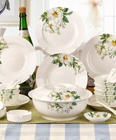Керамические тарелки 56 шт. фарфор солнце Кухня посуда набор посуды набор костяного фарфора блюда фантазии тарелки и миски набор