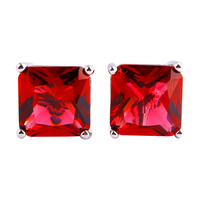 New Fashion Women Jewelry Sublimate Princess Cut Red Ruby Spinel 925 Silver Stud Earrings Whlesale Free Shipping