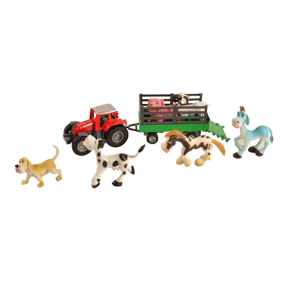 BOHS Farm Animals Truck Toys Model Diecasts Playset, with 6 Animals, 24.5 CM