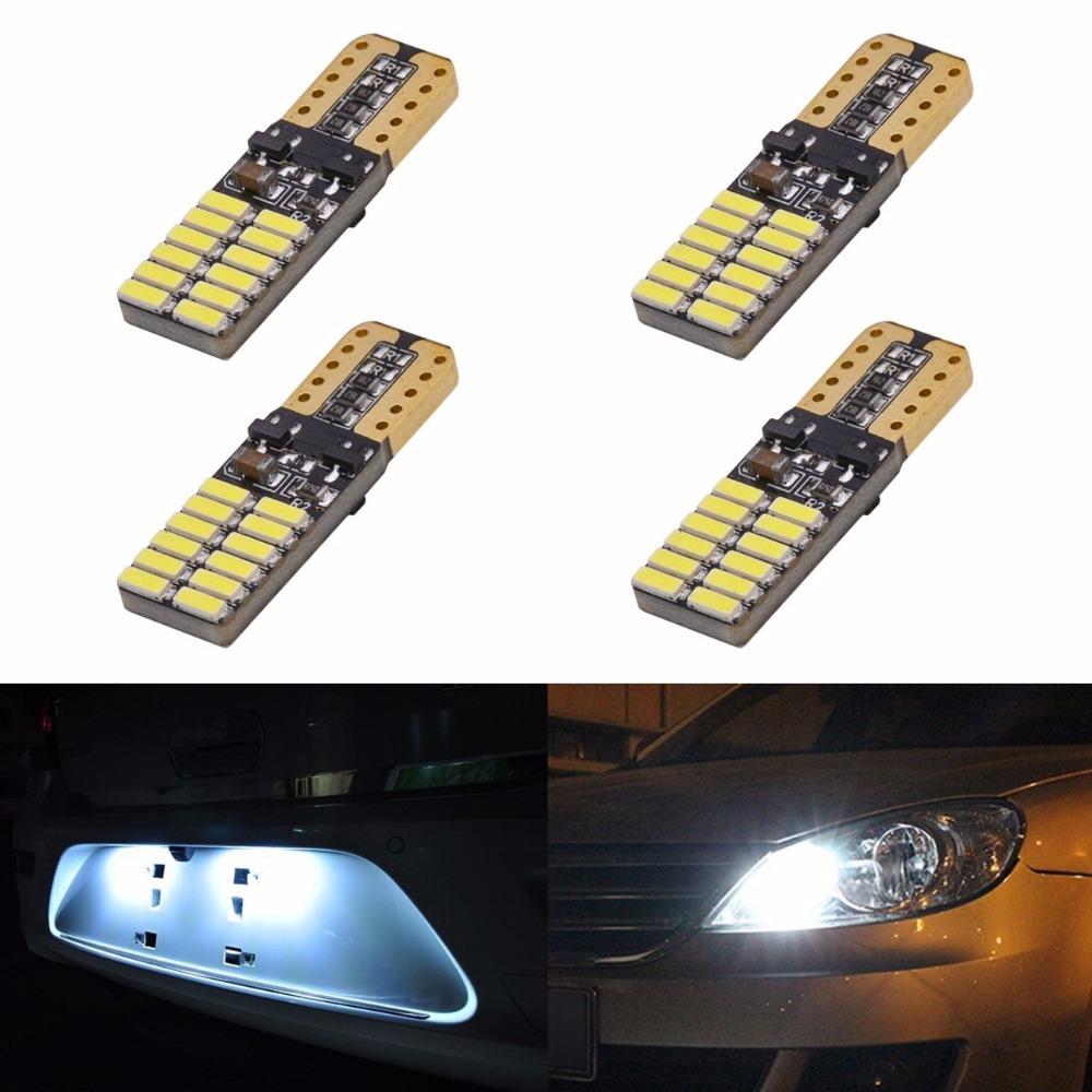SunTur 800 Lumens T10 W5W 2825 168 LED CanBus Error Free 4014 24 SMD 5W Car Front Side Marker Door Courtesy License Plate LED in Signal Lamp from Automobiles Motorcycles