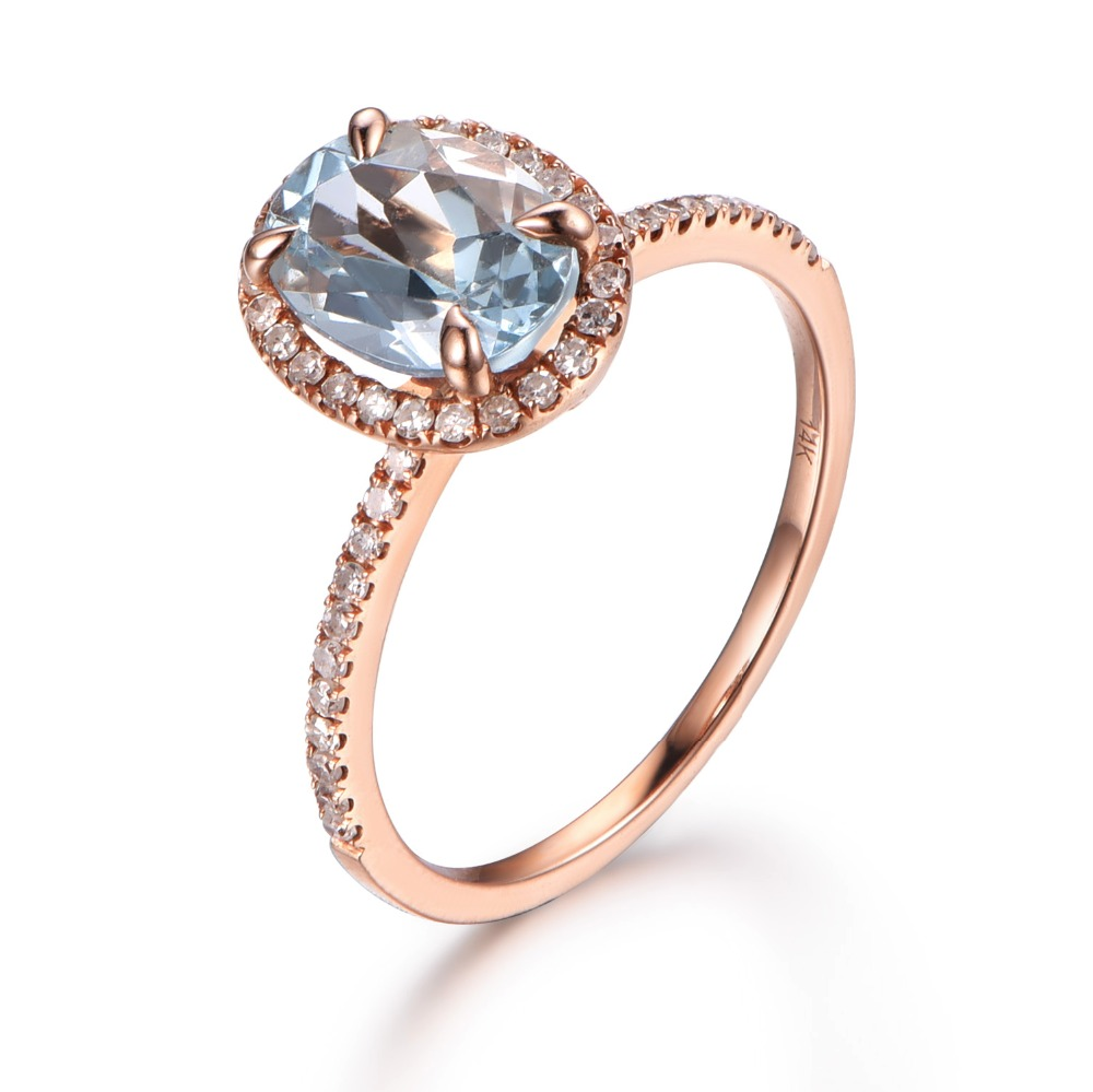 MYRAY 14k Rose Gold Natural Genuine 6x8mm Oval Blue Aquamarine Gemstone Diamond Engagement Ring Antique Women Rings Band Jewelry