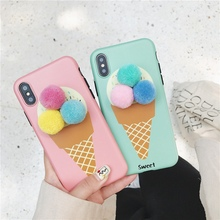 Stereo hair ball ice cream phone case for iphone XS Max XS XR 6 6S 7